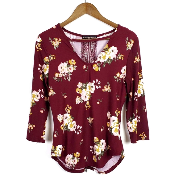 Burgundy floral top lace